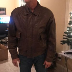 John Ashford brown leather bomber jacket